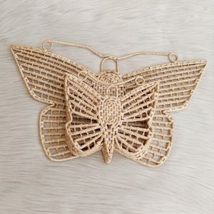 Vintage wicker butterfly wall hanging with pocket